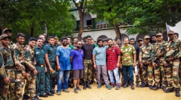 irumbu thirai movie shooting stills