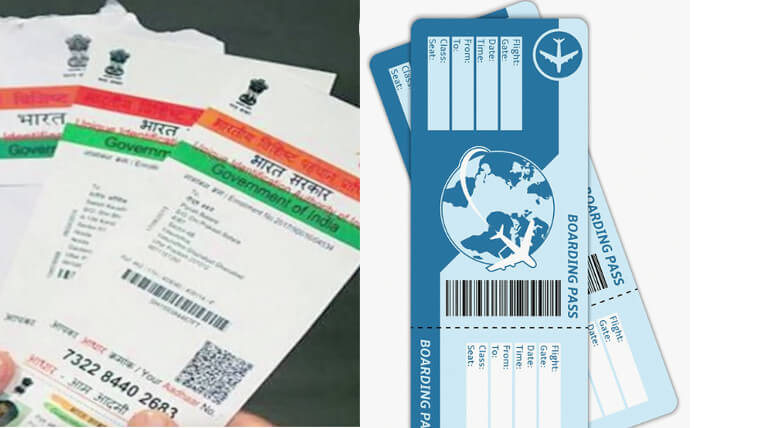 adhaar number is attached to airline tickets