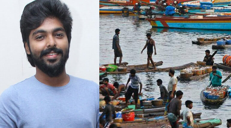 gv prakash supporting fishermen