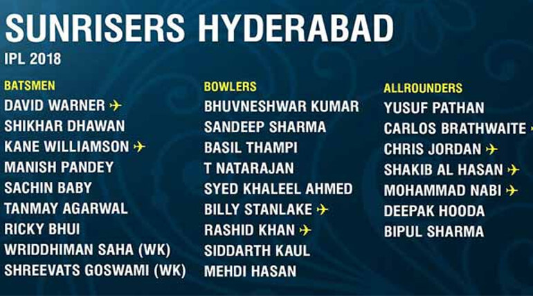 IPL 2018 SRH team player list