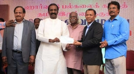 vairamuthu donates 5 lakhs for harvard university tamil chair