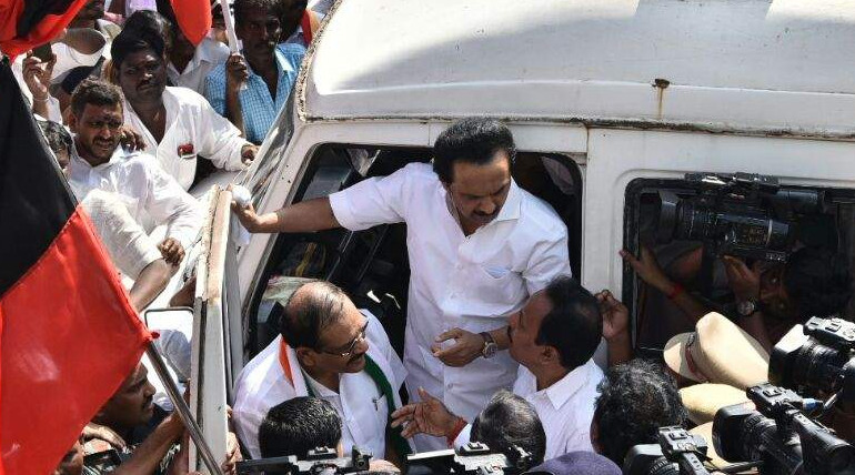 dmk protest against bus fare hike