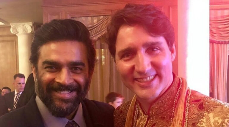 Actor Madhavan Selfie with Canada Prime Minister Justin Trudeau