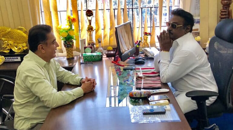 kamal haasan meets dmdk leader vijayakanth today