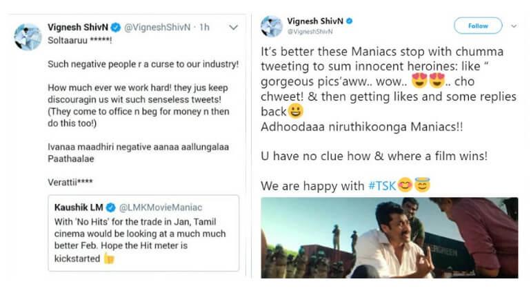 director vignesh shivan tweet about maniacs
