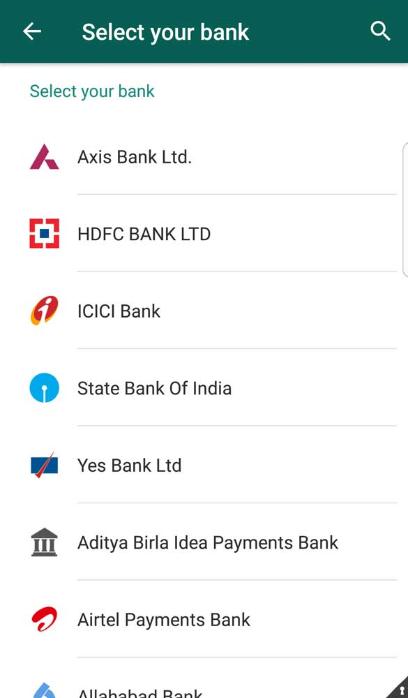 Available banks to connect with our registered mobile number