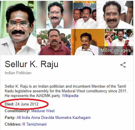 அமைச்சர் செல்லூர் ராஜு கடந்த 2012இல் ஜூன் மாதம் இறந்துவிட்டதாக கூகுள் தெரிவித்துள்ளது.