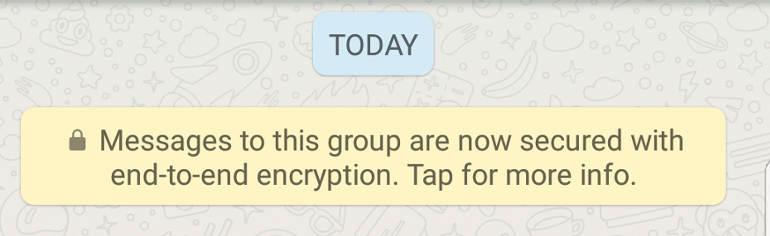 Whatsapp encryption status