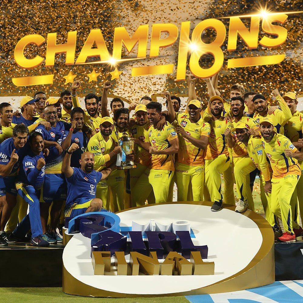 கேப்டன் தோனி தலைமையில் சென்னை மூன்றாவது முறையாக கோப்பையை வென்று மும்பை அணியின் வெற்றியை சமன் செய்துள்ளது.