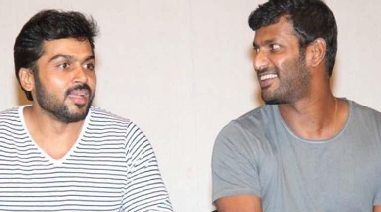 விஷாலின் சண்டக்கோழி 2 படத்தில் நடிகர் கார்த்தி தனது குரலை பதிவு செய்துள்ளார்.